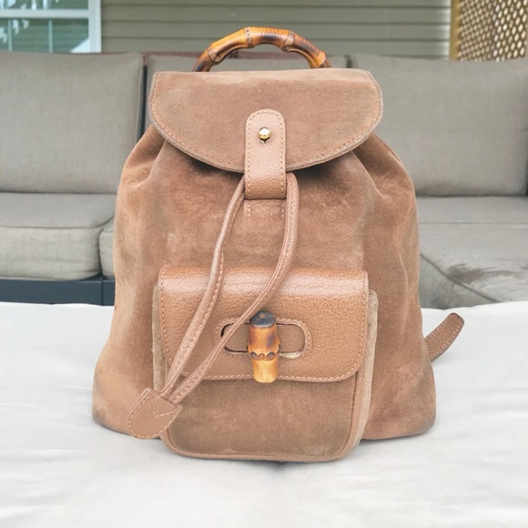 Gucci Handbags - Gucci Bamboo backpack suede 0d3bc45d4dd00
